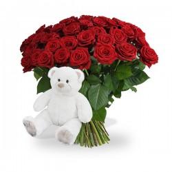 ramo de rosas premium + peluche