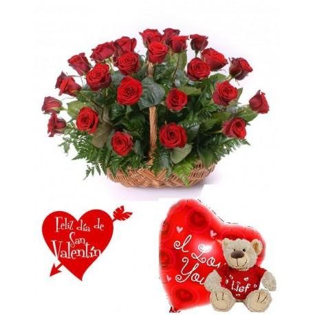 Cesta 25 rosas con peluche y globo