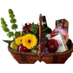 Basket of fruits and cheeses