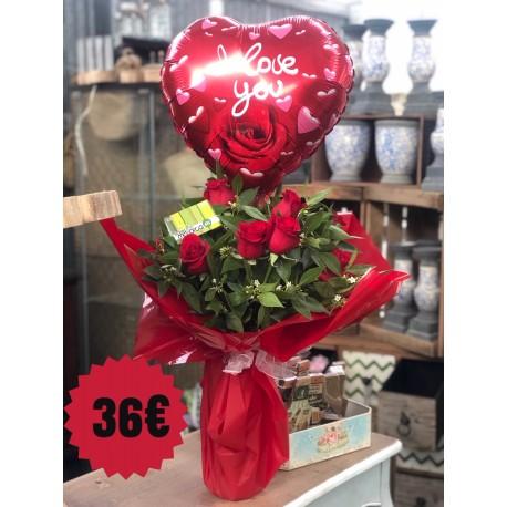 12 Rosas Rojas con globo