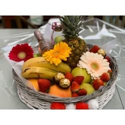 bandeja de frutas y flores vintage