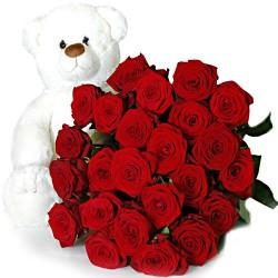 20 rosas y peluche